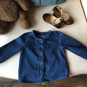 Baby Gap chambray shirt with delicate ruffle